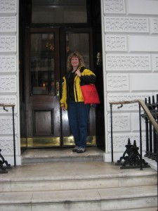 Sharon on the steps of White's gentlemen's club